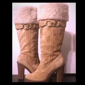 Coach Luci Tall Fur Boots-Camel Suede Leather